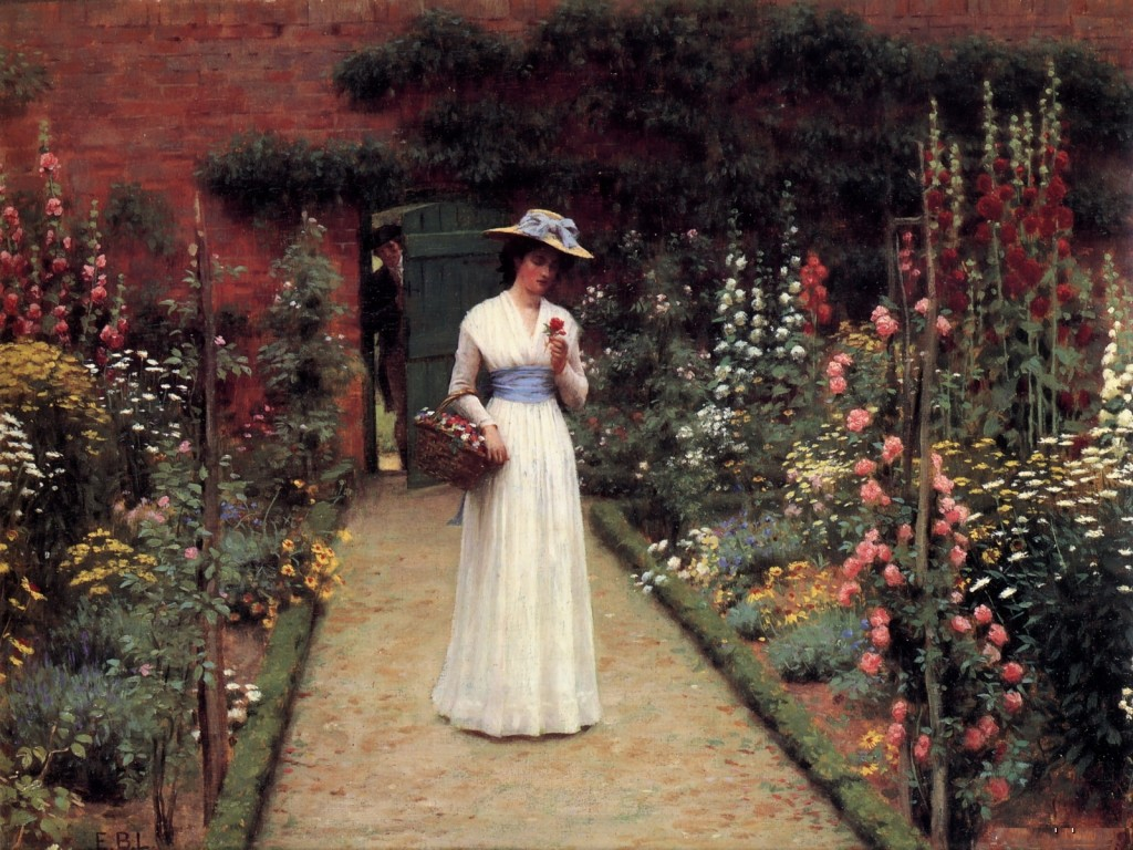 period picture of garden painting, Edmund Leighton and Lady Blair