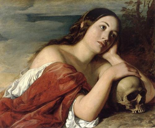 beautiful woman and skull by William Dyce, Omnia Vanitas 1848