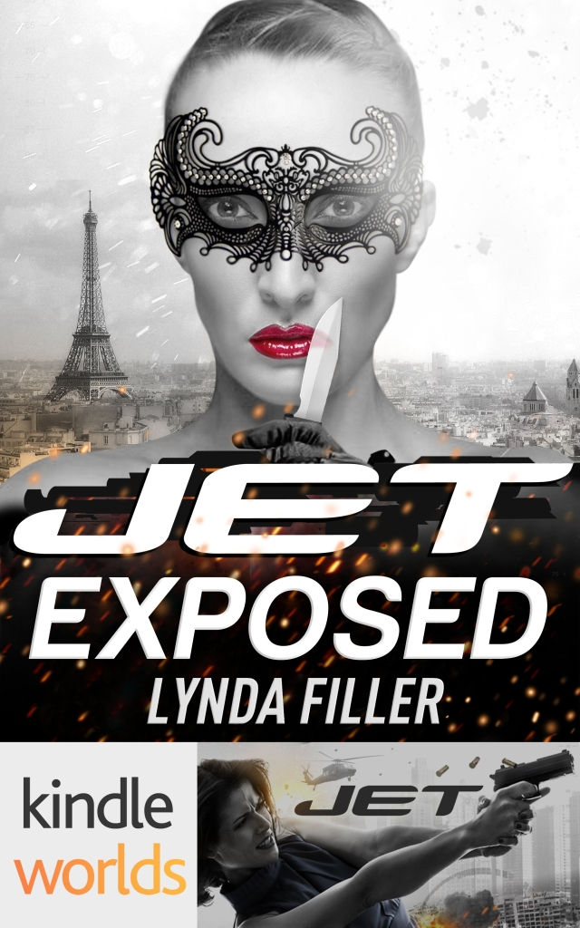 picture of front cover design of suspense thriller novella JET EXPOSED by author Lynda Filler.