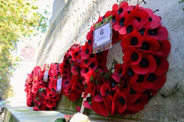 Picture of poppy wreaths along a memorial wall, Remembrance Day